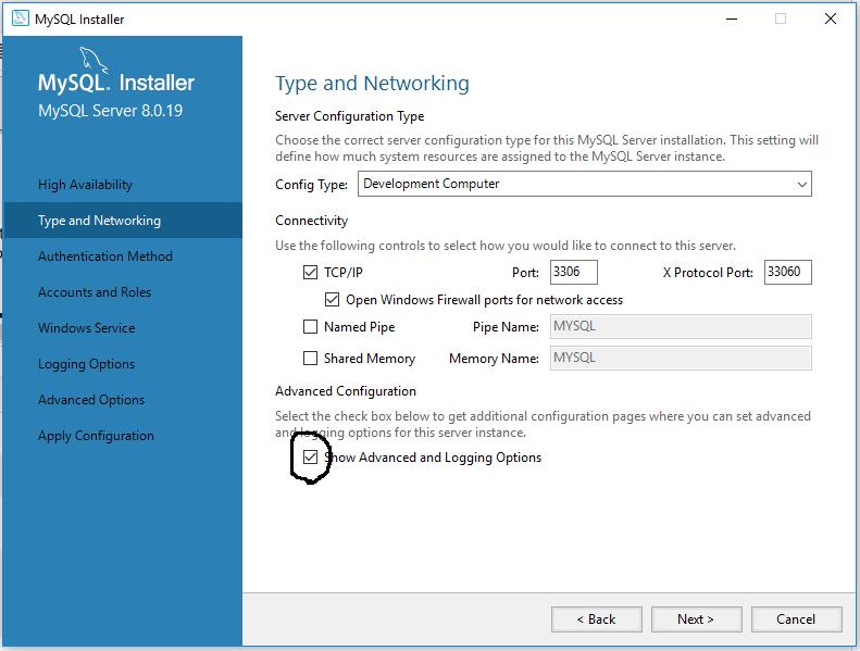 MySQL 8 Configure Server and Port