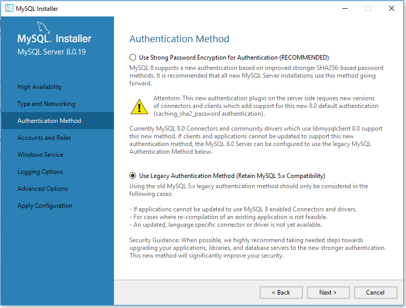 MySQL 8 Installation - Authentication Method