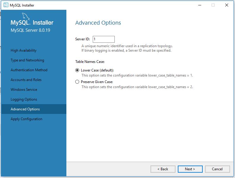 MySQL 8 Installation - Advanced Options