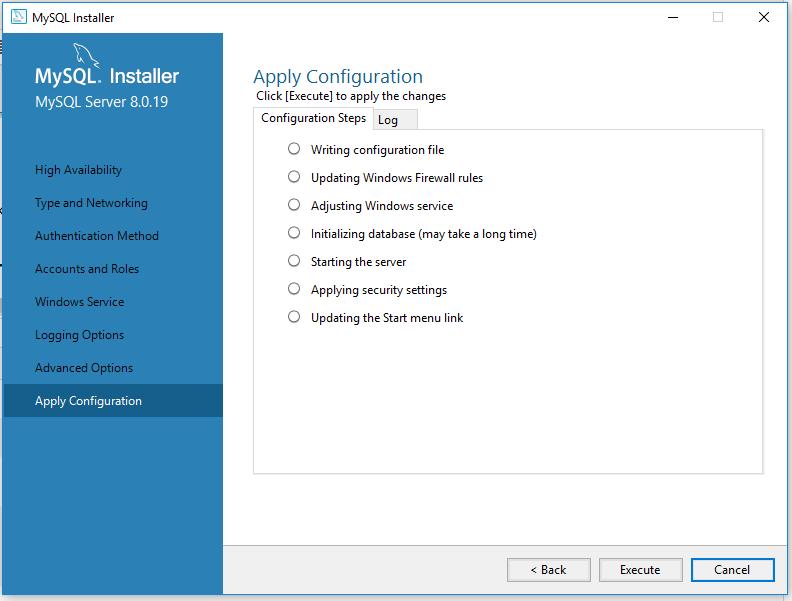 MySQL 8 Installation - Apply Configuration