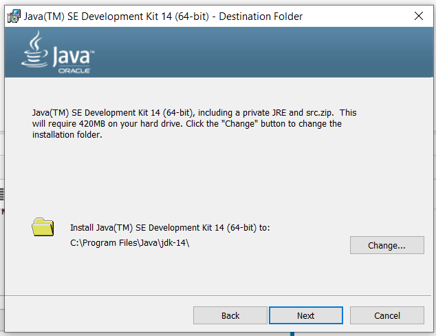Java 14 Installation - Path Screen