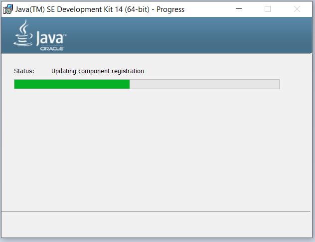 Java 14 Installation - Progress Screen