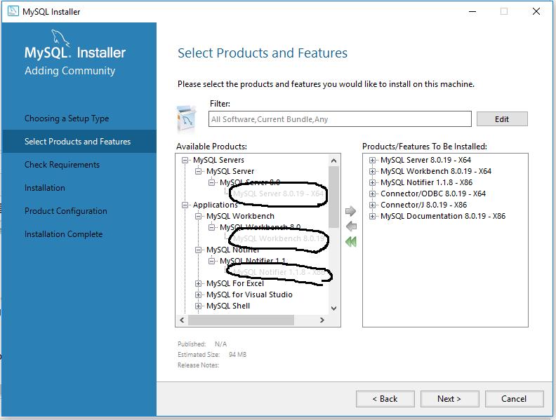 MySQL 8 Install Products