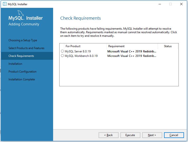 MySQL 8 Install Requirements Check