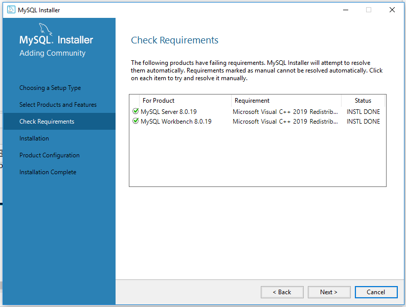 MySQL 8 Install Requirements