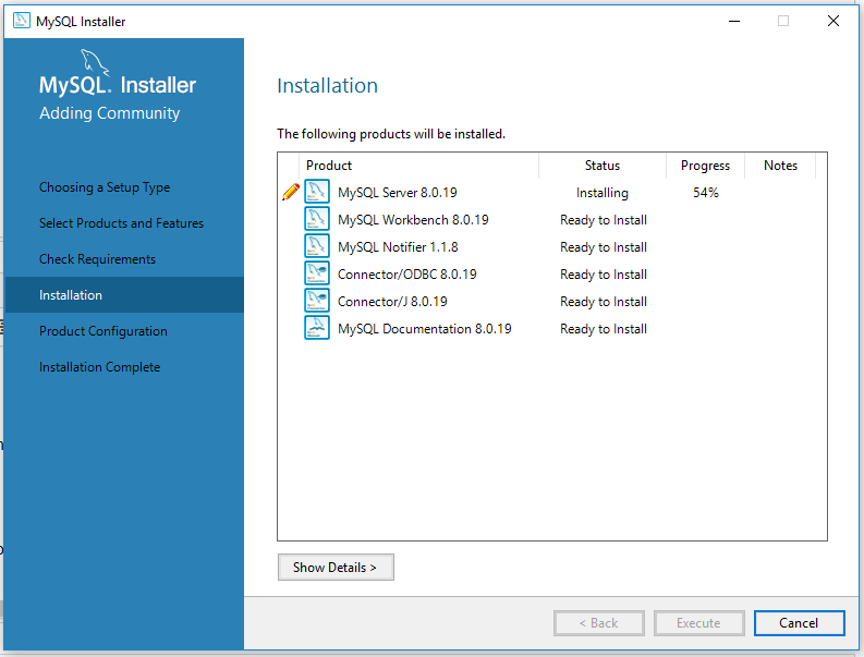 MySQL 8 Install Progress