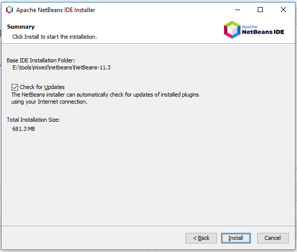 NetBeans 11 Installation - Summary