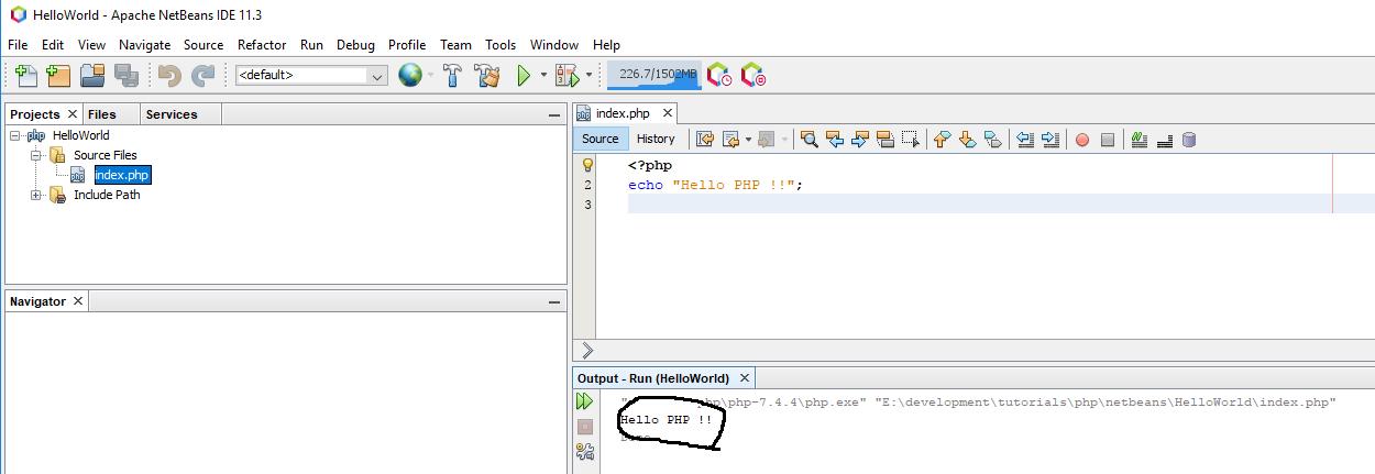 NetBeans 11 - Output