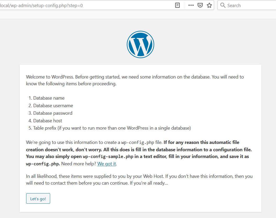 WordPress Install Instructions