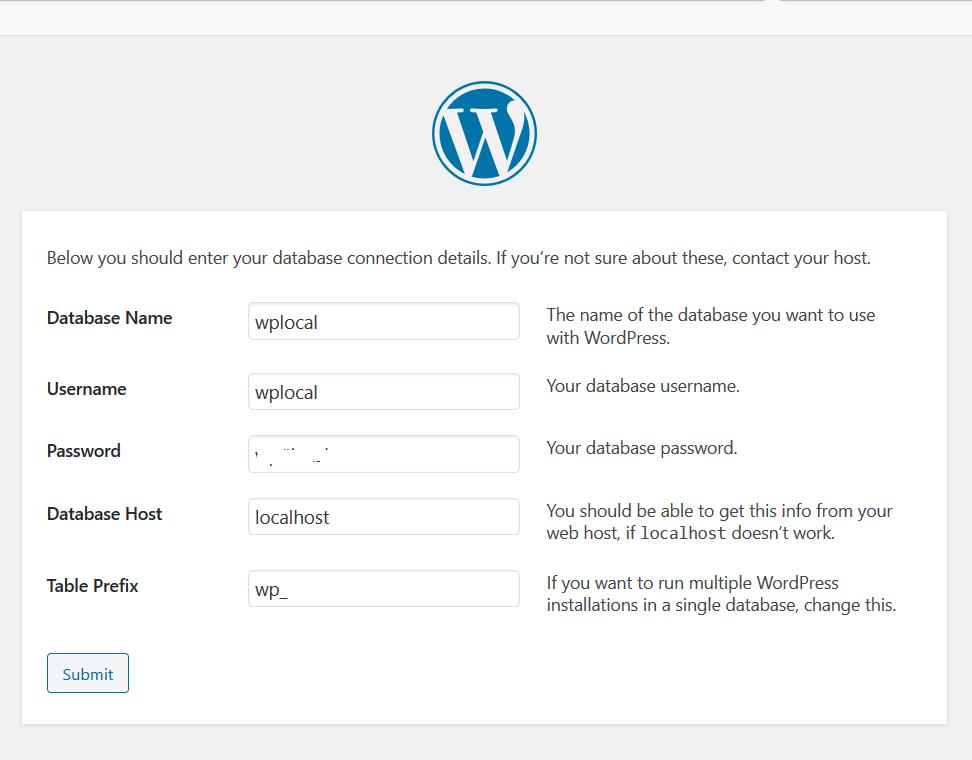 Configure WordPress Database
