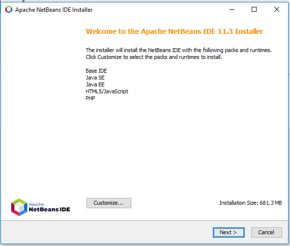 NetBeans 11 Installation - Welcome