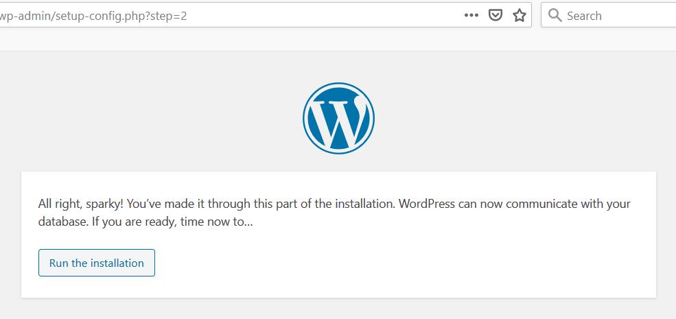 WordPress Installation Ready