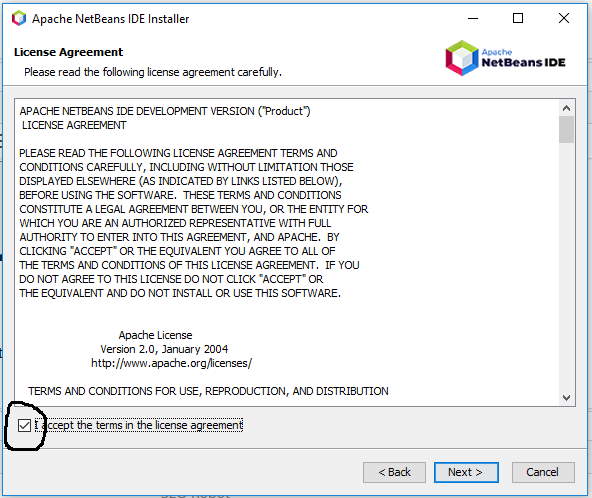 NetBeans 11 Installation - License Agreement