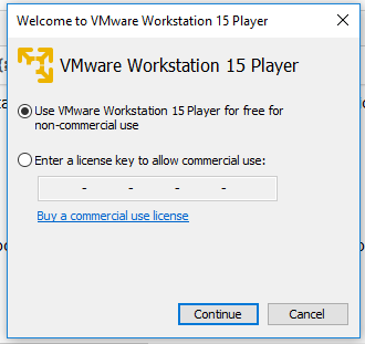 VMware Workstation Player - License Options