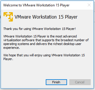 VMware Workstation Player - Confirm License