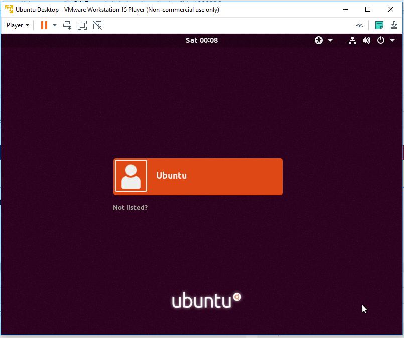 VMware Ubuntu Login