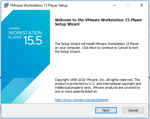 VMware Workstation Player - Welcome Screen