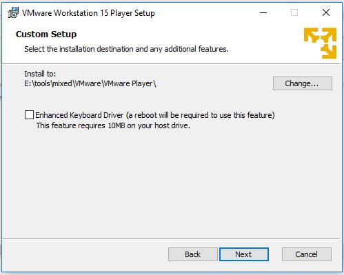 VMware Workstation Player - Installation Path