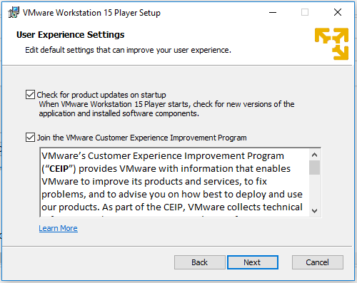 VMware Workstation Player - User Experience settings