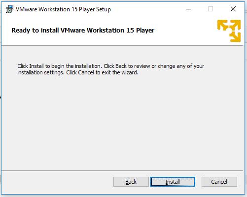 VMware Workstation Player - Confirm Installation