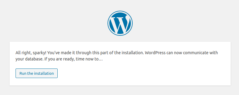 WordPress Ready For Installation