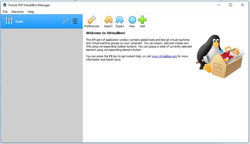 VirtualBox - Welcome Screen