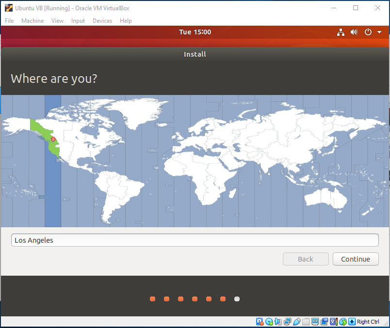 Ubuntu On VirtualBox - Choose Region