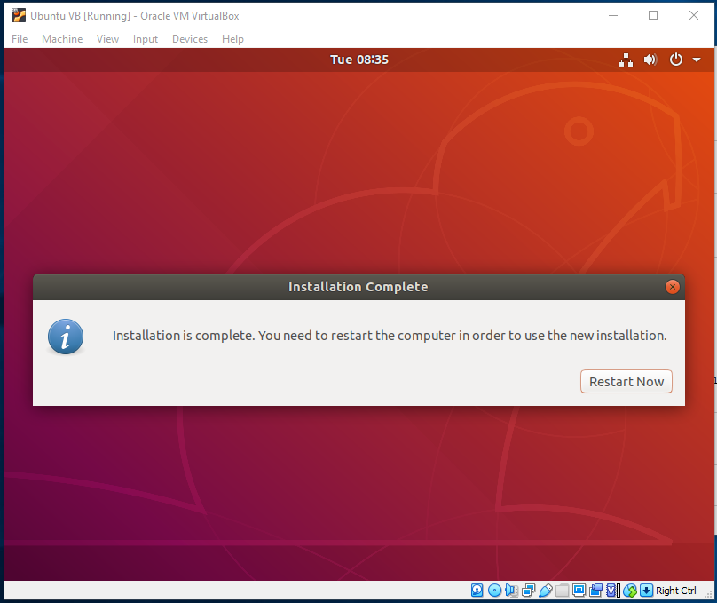 Ubuntu On VirtualBox - Installed