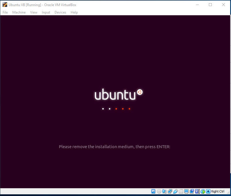 Ubuntu On VirtualBox - Remove Installation Medium