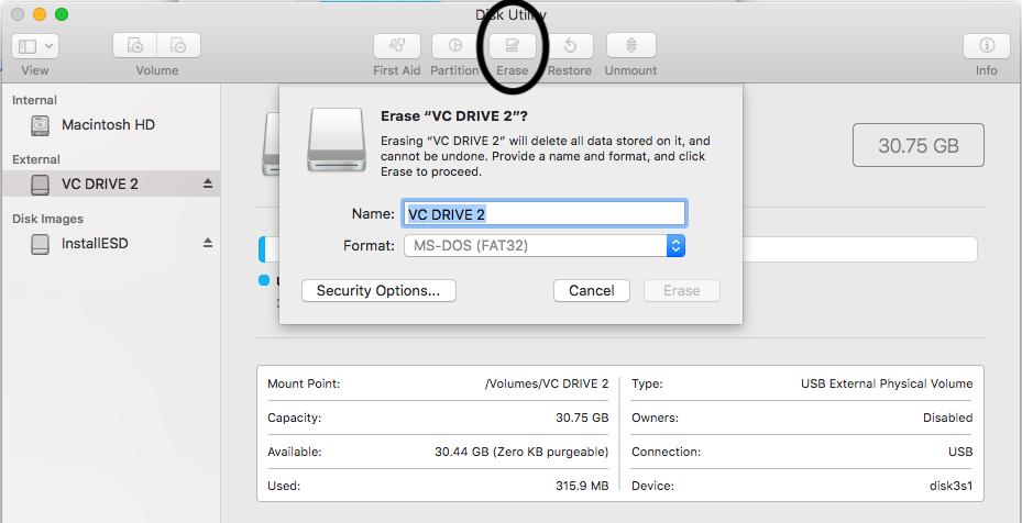 Mac Disk Utility - Erase Disk
