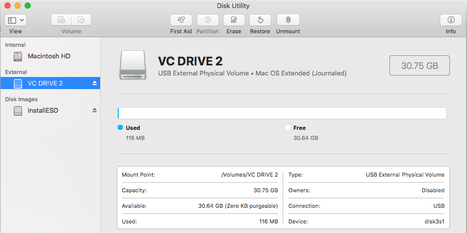 Mac Disk Utility - Formatted