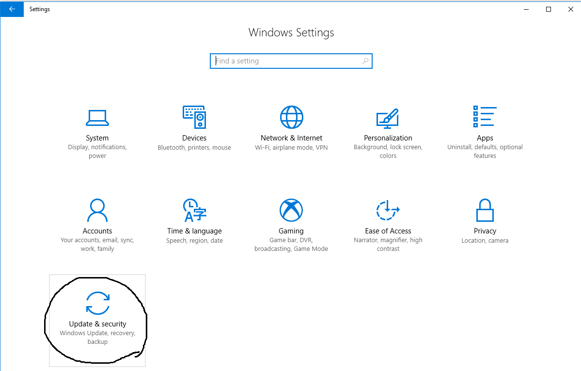 Windows - Update and Security Option