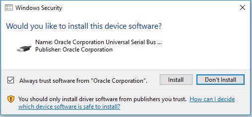 VirtualBox - Windows Security