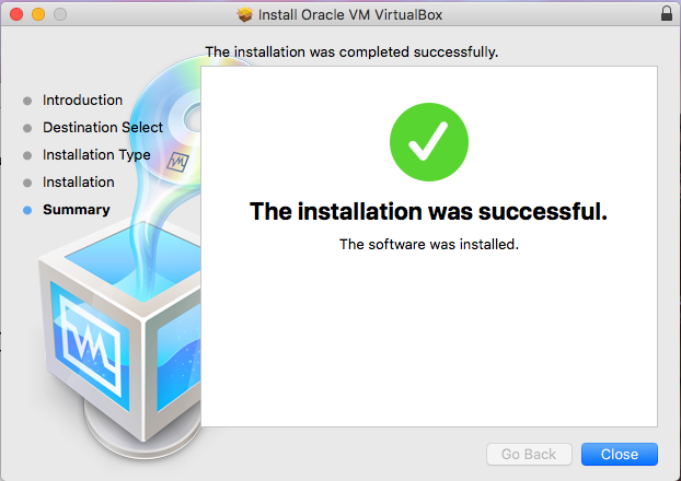 VirtualBox - macOS - Installation Success