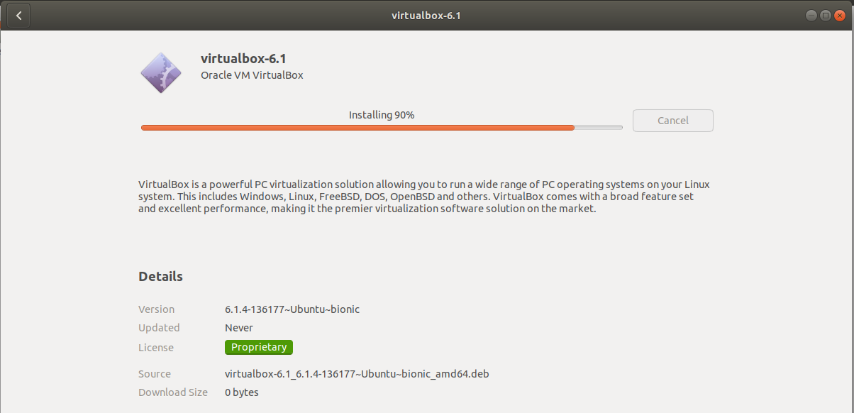 VirtualBox - Ubuntu - Installation Progress