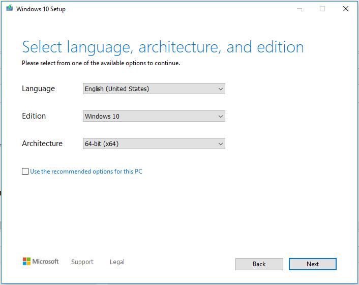 Windows 10 - ISO Options