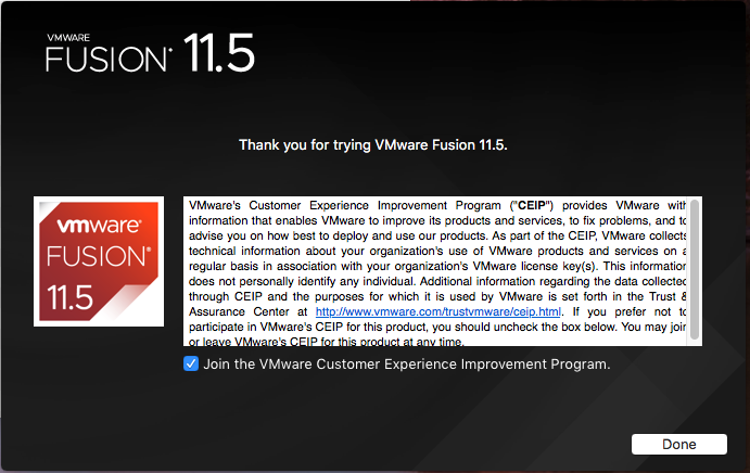 VMware Fusion - Confirm Installation