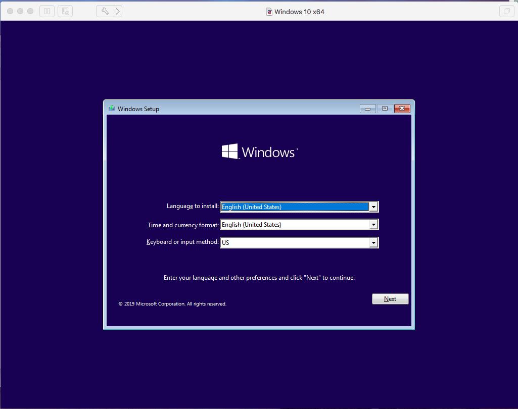 Windows - VMware Fusion - Choose Language