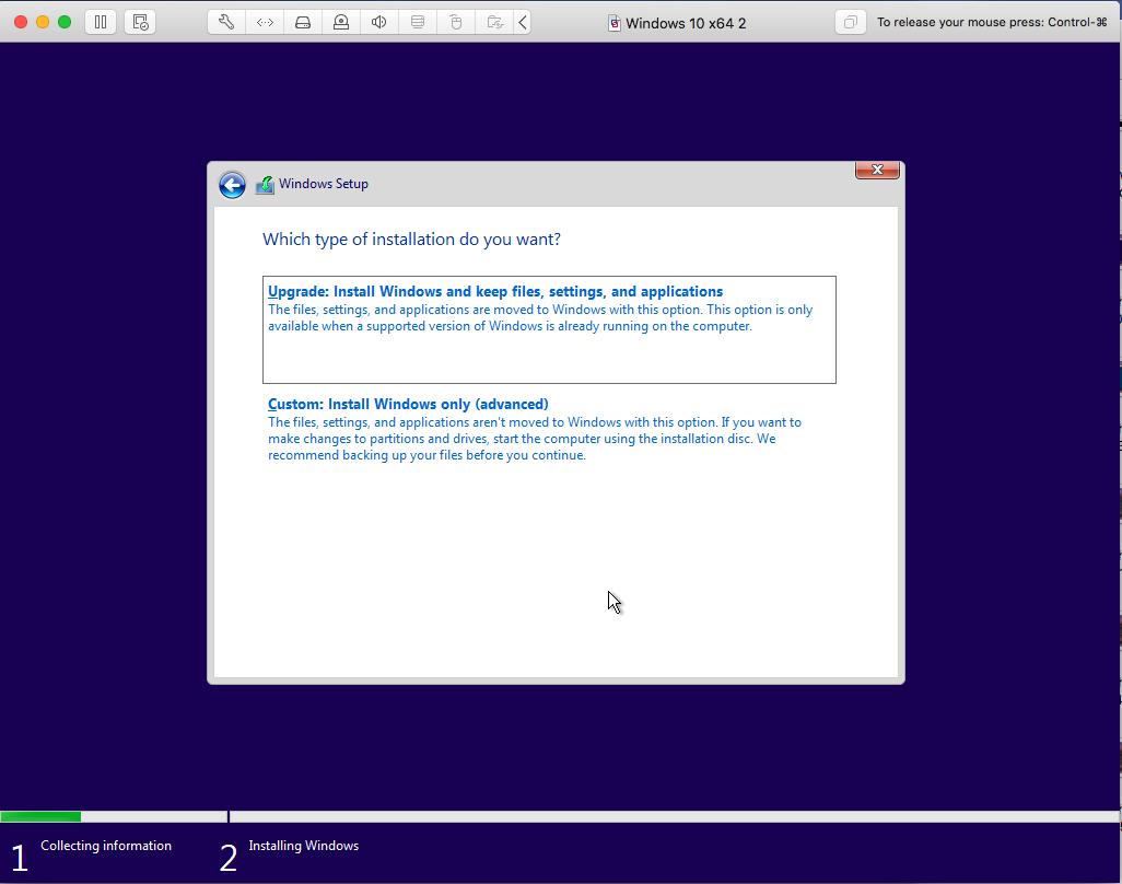 Windows - VMware Fusion - Installation Type