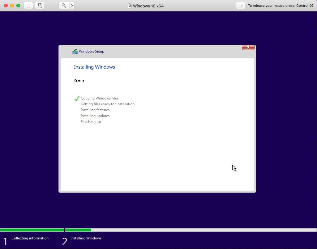 Windows - VMware Fusion - Installation Progress