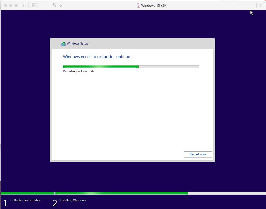 Windows - VMware Fusion - Reboot