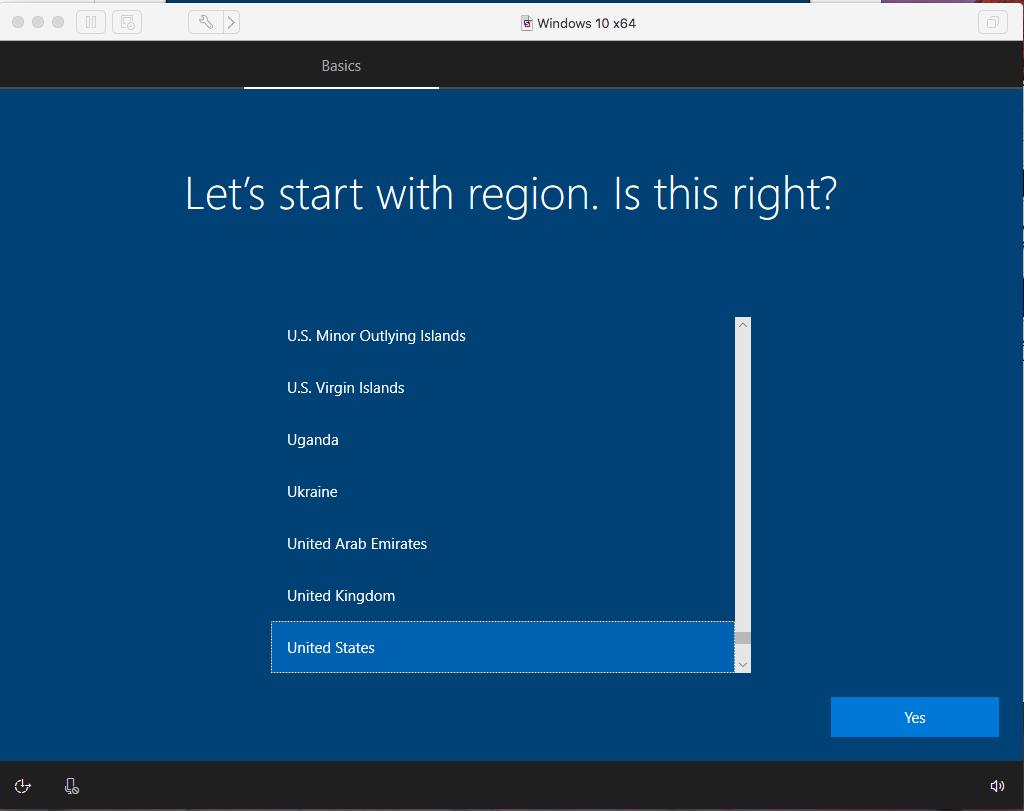 Windows - VMware Fusion - Region