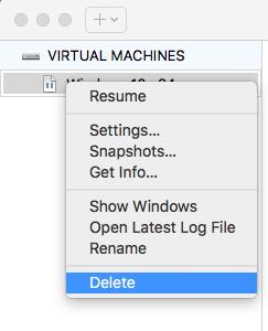 VMware Fusion - Delete Virtual Machine - Delete