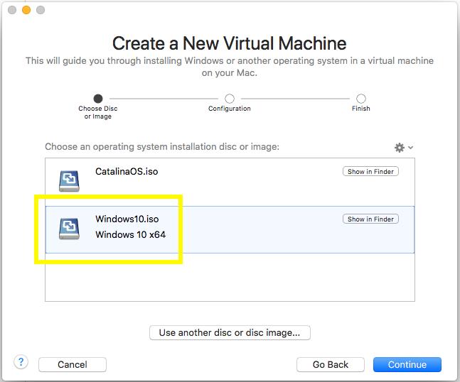 Windows - VMware Fusion - Create Virtual Machine