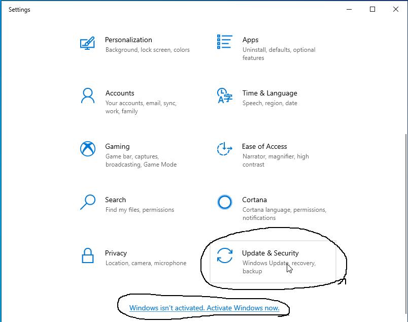 Activate Windows - Settings