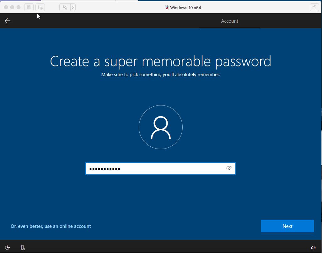 Windows - VMware Fusion - Password