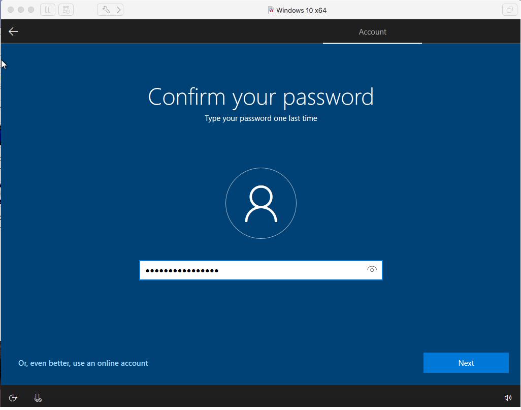 Windows - VMware Fusion - Confirm Password