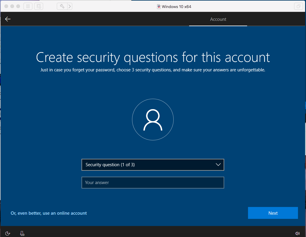Windows - VMware Fusion - Security Question