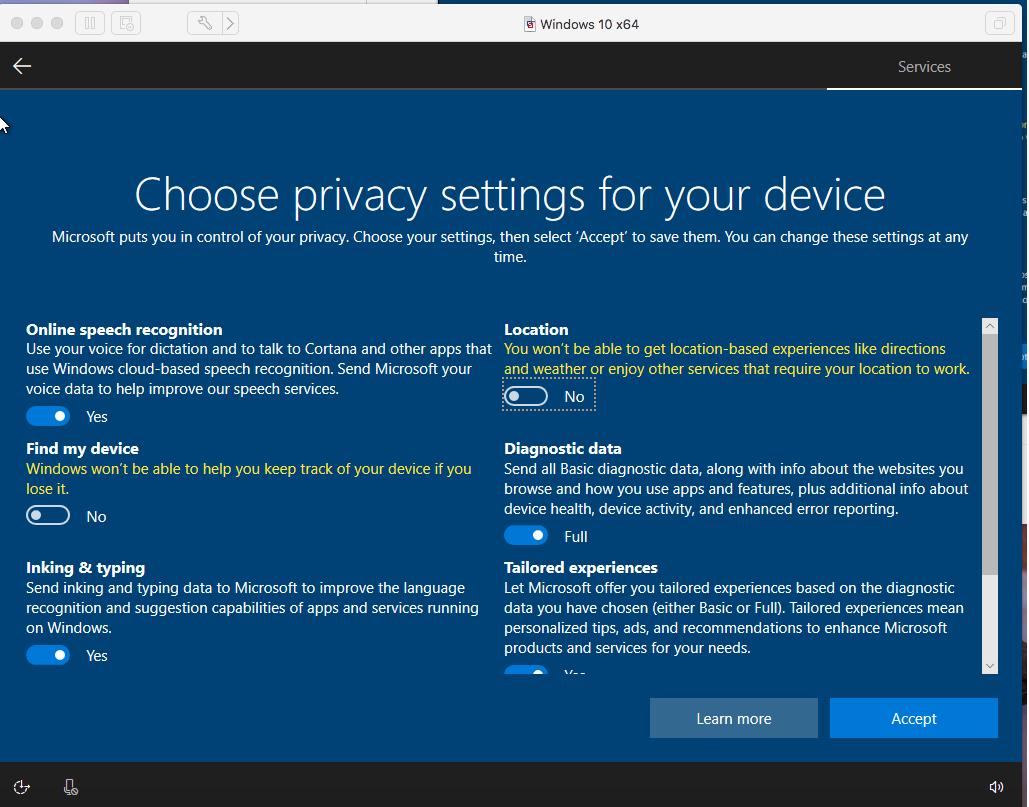 Windows - VMware Fusion - Privacy Settings