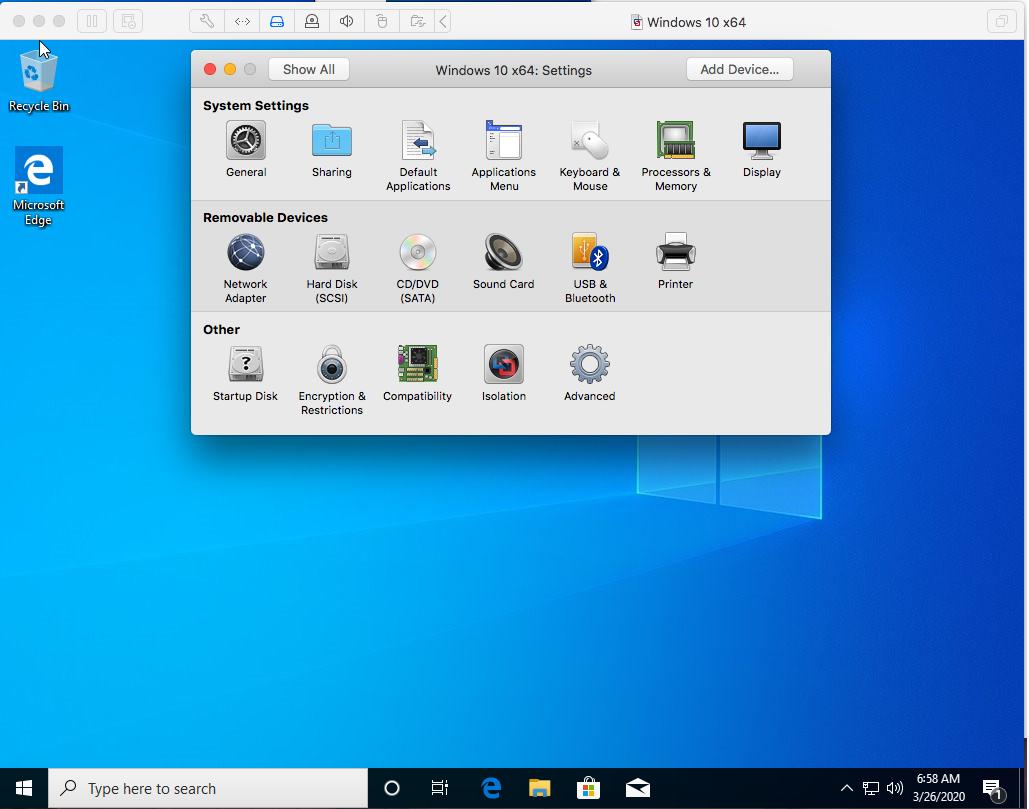 Windows - VMware Fusion - VM Settings